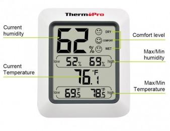 Высокая точность (1% RH и 1F / C) ЖК-Цифровой Термометр Гигрометр (BARCRAKARG)